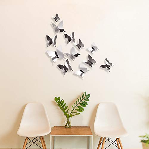 BBTO 48 Pieces DIY Mirror Butterfly Combination 3D Butterfly Wall Stickers Decals Home Decoration (Silver) 5
