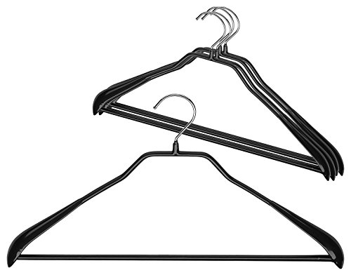 """Mawa by Reston Lloyd BodyForm Series Non-Slip Space-Saving Clothes Hanger with Bar for  Pants, 16-1/2"""", Style 42/LS, Set of 5, Black"""