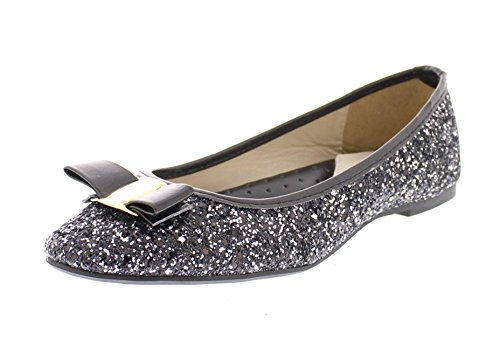 Black Skimmers Shoes Flats (Gold Toe Women's Tempest Metallic Sequin Sparkle Ballet Flat Slipon Dress Pump Bow Ballerina Skimmer Shoe Black 7 US)