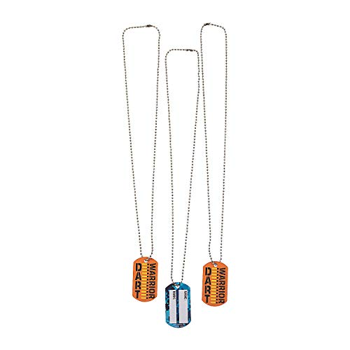 Fun Express - Dart Battle Dog Tag Necklaces for Birthday - Jewelry - Necklaces - Dog Tag Necklaces - Birthday - 12 Pieces
