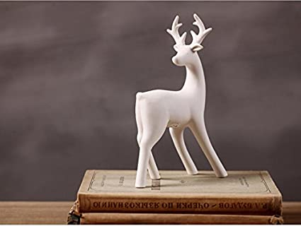 greencherry christmas decor deer ceramic standing matte white reindeer figurine statue white 04