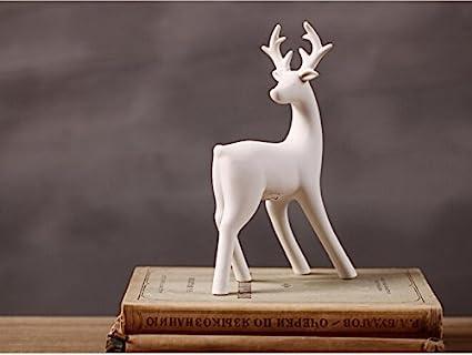 amazoncom greencherry christmas decor deer ceramic standing matte white reindeer figurine statue white 01 home kitchen