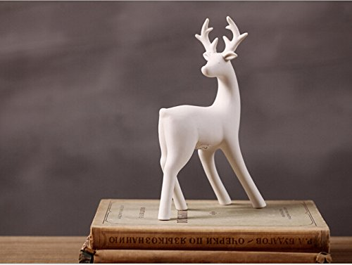 (Greencherry Christmas Decor Deer Ceramic Standing Matte White Reindeer Figurine Statue (White 04))