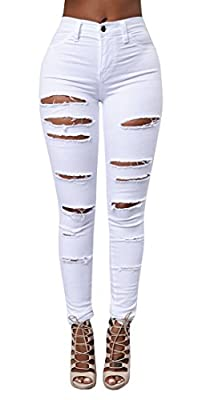 QingOrange Women High Waist Skinny Ripped Jeans Distressed Stretch Pencil Pants Boyfriend Trouser