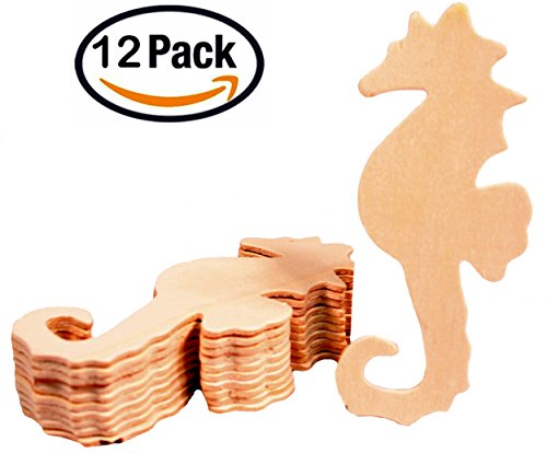 Creative Hobbies Unfinished Wood Seahorse Cutout Shapes, 5 Inch Tall, Ready to Paint or Decorate, Pack of 12