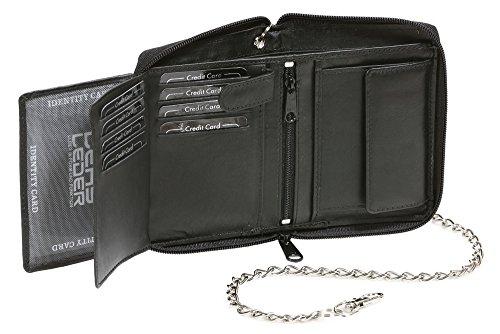 Portafoglio con tasca laterale a zip e catena cromo LEAS, Vera Pelle, nero - ''LEAS Chain-Series''