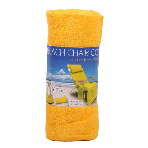 Beach Chair Cover Includes Terry Inflatable Pillow Cover Converts to a Beach Tote- Yellow