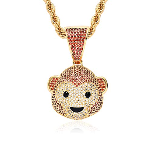 Moca Jewelry Monkey Iced Out Pendant 18K Gold Plated Fully Pave CZ Animal Necklace with 24