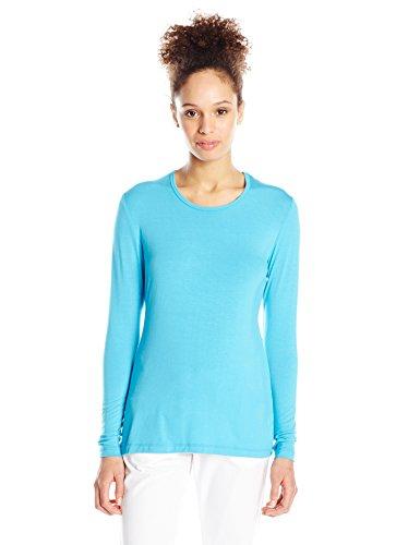 Cherokee Women's Long Sleeve Knit Underscrub Tee, Turquoise, X-Large (Layering Tee Pro)