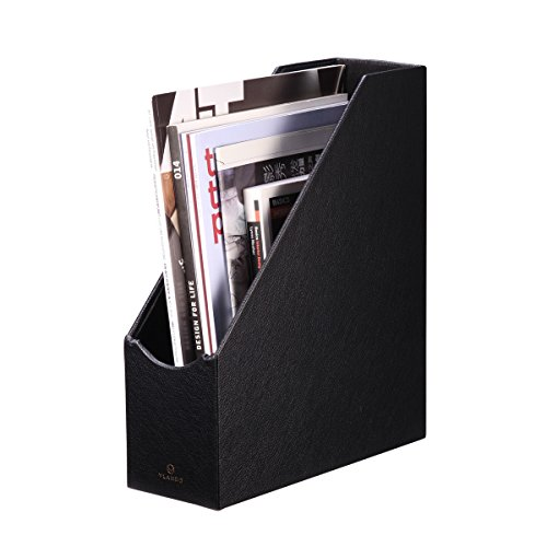 VPACK Magazine File Organizer Holder - Office PU Leather Desk Organizer Collection, Assorted Color (Onyx Black)