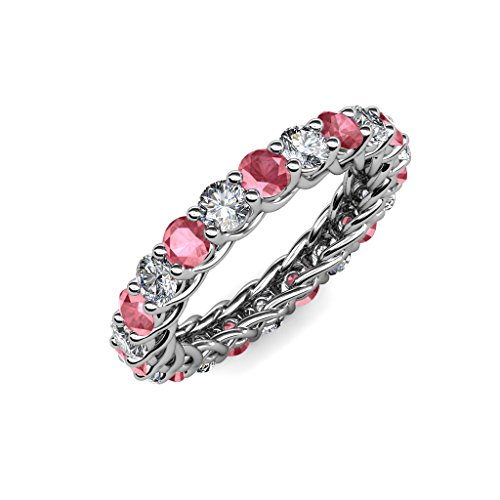 Gallery Tourmaline Pink - TriJewels Pink Tourmaline & Diamond 3.4mm Gallery Eternity Band 2.76 ctw-3.19 ctw 14K White Gold.size 4.5