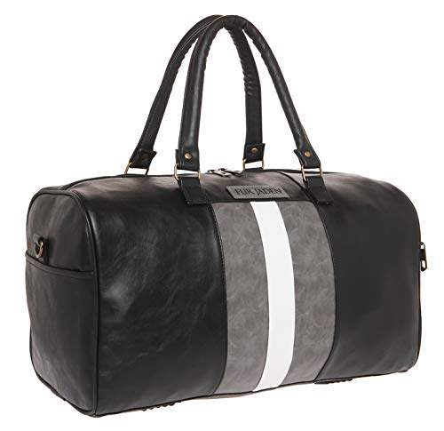 Fur Jaden Weekender Duffle Bag for Travel for Men and Women Made of Premium Leatherette with Attachable Shoulder Strap (Black)
