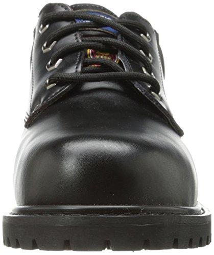 Skechers För Arbete Mens Poppel-cropper Stålhätta Arbete Boot Svart Läder