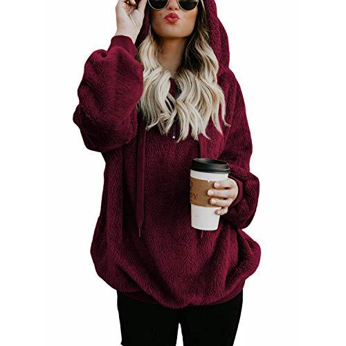 Zando Womens Girls Furry Hoodies Winter Fashion