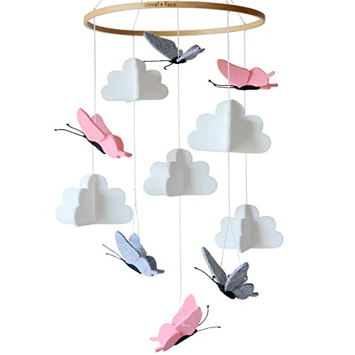 Sorrel and Fern Crib Mobile Butterflies in the Clouds Grey and Pink Baby Ceiling Nursery Decor with Natural Wooden Teether (Cloud Ceiling Wood)