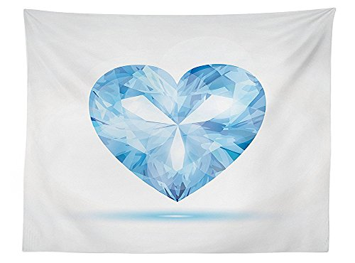 vipsung Diamond Decor Tablecloth Big Hanging Valentine Heart with Bright Shades Shadow Box Passion Romance Fortune Decor Dining Room Kitchen Rectangular Table Cover Blue (Shadow Box Pottery Barn)