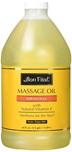 Sports Massage Off Oil (Bon Vital'  Original Massage Oil for a Versatile Massage Foundation to Relax Sore Muscles & Repair Dry Skin,  Most Requested Best Massage Oil on Market, Unbeatable Consistency and Quality, 1/2 Gallon)