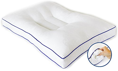 Nature's Guest Support Pillow-Fully Adjustable, Doctor Recommended Contour Design-Helps Reduce Neck Pain, Improve Cervical Health-Hypoallergenic, for Back and Side S, Standard/Queen White (Best Back Support Pillow For Bed)