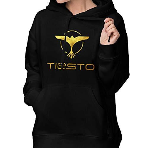 Weiheiwec 9 Women's Dj Tiesto Logo Pullover Hooded Sweatshirt with Pocket Black M