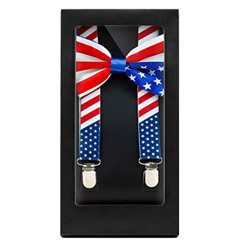 Y-Back Suspenders and Bow Tie Matching Set, Pre-Tied, Clip Design, Elastic, Adjustable Straps, Classic | Great for Weddings,Parties,Graduations, Theme Party | Nice&Unique Gifts for Men (American Flag)