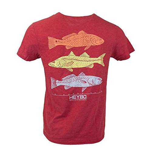 (Heybo Outdoors Inshore Fish Stamp Short Sleeve T-Shirt-Red-XXXL )