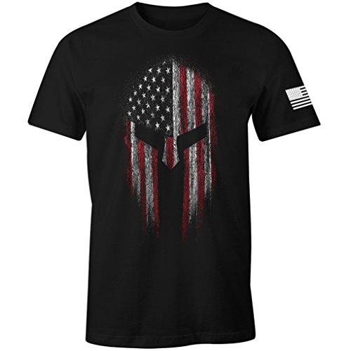 USA Flag American Spartan Patriotic Men's T Shirt (Black, 4XL)
