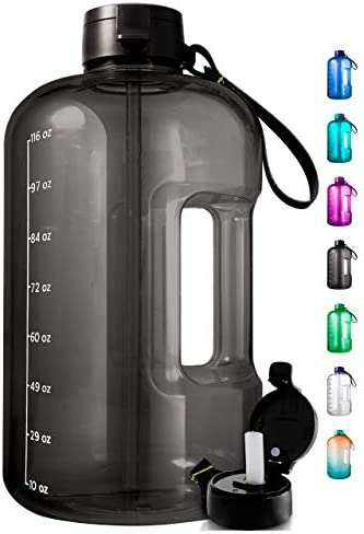 AQUAFIT 1 Gallon Water Bottle with Time Marker - Large Water Bottle Gallon Water Bottle Motivational One Gallon Water Bottle with Straw 1 Gallon Water Jug with Time Marker 1 Gallon Big Water Bottle