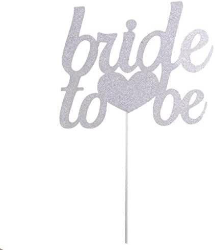 Bride To Be Silver & Gold Glitter Wedding Bridal Shower Cake Topper Hen Party Favor - Silver