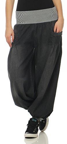 Unique Taille style Femme Pantalon Gris Aladin en Denim malito 6258 Pantalon bouffant wFRRvB