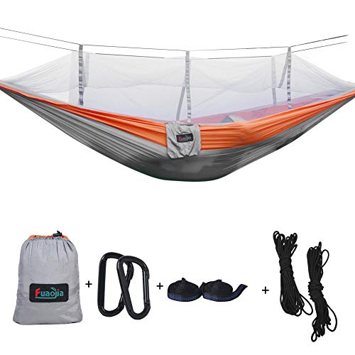 Camping Hammock Single Double Lightweight Portable with Mosquito Net 10ft Hammock Tree Straps and Carabiners for Camping Backpacking Survival Outdoor Hiking