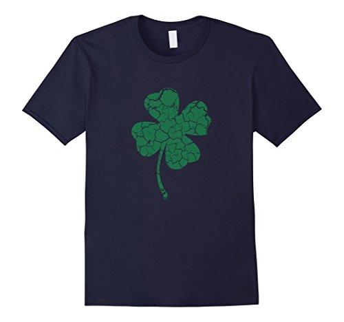 Mens Irish four leaf clover shirt Large Navy