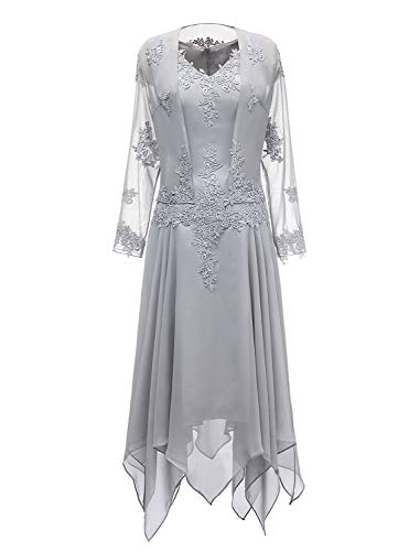 tutu.vivi V-Neck Chiffon Tea Length Mother of The Bride Dress Long Sleeves Lace Formal Evening Gowns with Jacket Silver Size18W (Mother Of The Bride Dresses Under 100 Dollars)