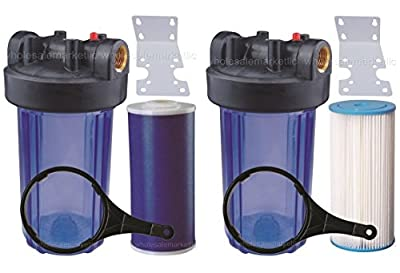 """Two 10"""" Big Blue Whole House Water Filter w/ Pleated Sediment & GAC Carbon Filters ^ CLEAR BLUE TRANSPARENT HOUSINGS"""