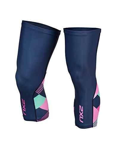 2XU Unisex Cycle Knee Warmers Navy/Pink Shapemania L & Headband Bundle by 2XU, USA