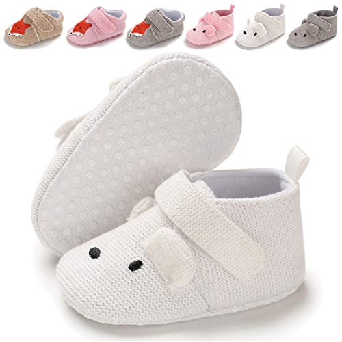 BENHERO Baby Boys Girls Shoes Soft Sole Cartoon Animals Slippers Infant Toddler Prewalker Moccasins Crib First Walkers House Shoes (0-6 Months M US Infant, G-White)