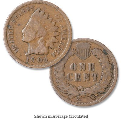1904 U.S. Indian Head Cent / Penny Circulated Good and Better (95% Copper Shield)