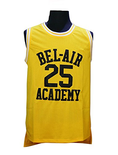 25 Banks The Fresh Prince of Bel Air Academy Carlton Banks Jersey Embroidered Basketball Jersey Gold S