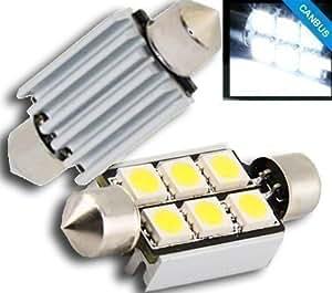 Bombillas LED Canbus C5W para Iluminación Matrícula Marca DABHEES - Par de Placas con 6 LED SMD