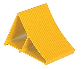 "Vestil EALUM-YEL Extruded Wheel Chock, Aluminum, 7"" Width, 8"" Height, 11-5/8"" Length, Yellow"