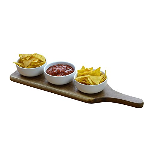 Set Of 3 Dipping / Snack / Tapas Serving Bowls On Wooden Serving Paddle (Tapas Dish Set)