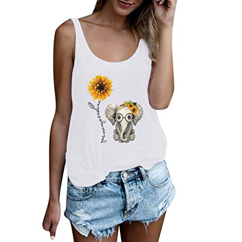 TANLANG Women Scoop Neck Tank Love Sunflower Elephant Print Short Sleeve Vest Top Pleated Camisole Tank Casual T Shirts White