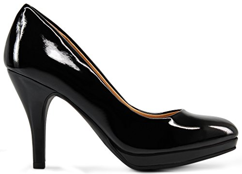 MARCOREPUBLIC Rome Memory Foam Cushion Womens Low Platform Heels Comfort Pumps - (Black Patent) - 6.5