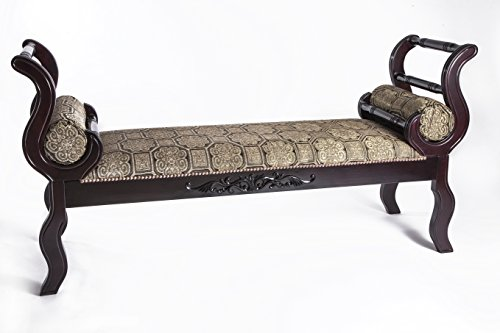 """MYMQ 63"""" Upholstered Indoor Bench With Solid Hardwood Roll Arms Green Fabric"""