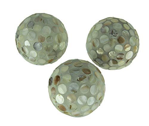 A&B Home Set of 3 Pearlescent Mosaic Seashell Decorative Balls