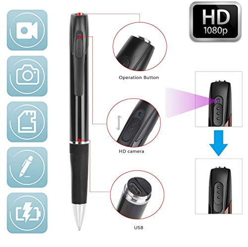 Spy Camera Pen 1080P HD Recording (with 32 GB Memory Card) - Spy Pen Camera, Hidden Camera Pen - Mini Spy Hidden Camera, Spy Cam with Small Camera - Mini Hidden Camera + 5 Inks + SD Card Reader