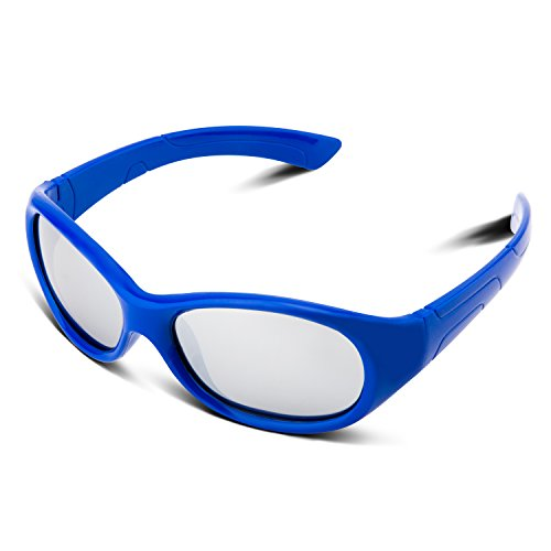 RIVBOS Rubber Kids Polarized Sunglasses With Strap Glasses for Boys Girls Baby and Children Age 3-10 RBK003 (2035-Round Blue - Sunglasses For Girls Stylish