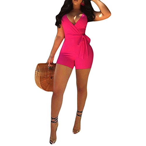 IyMoo Womens Spaghetti Strap Belted Short Jumpsuits V Neck One Piece Romper Jumpsuits Playsuit Rose Red Small
