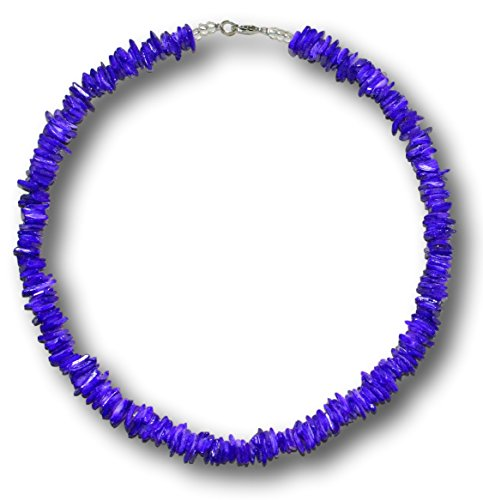 White Rose or Colored Clam Chips Puka Shell Necklace with Lobster Clasp (Purple)
