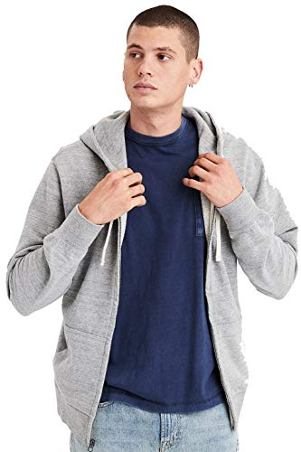 American Eagle Mens Full Zip Fleece Hoodie Gray (XS)