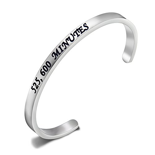 SEIRAA Rent Season Of Love 525,600 Minutes Cuff Bangle Inspired Bracelet Broadway Musical Jewelry Gift for Her (525,600 cuff - Broadway Kids Free